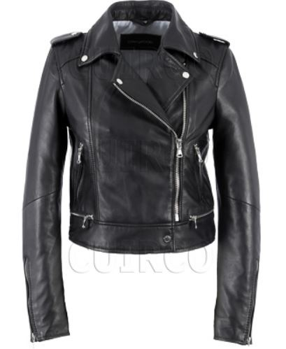 Yoko schwarze Biker Lederjacke von Oakwood/ Cuirco