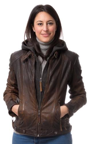 Casha Damen Lederjacke mit Kapuze von GIPSY
