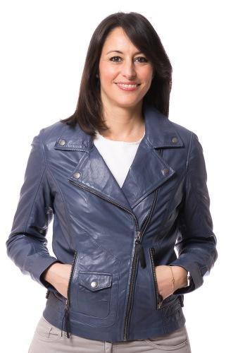6027 Biker Lederjacke für Frauen in blau von TRENDZONE