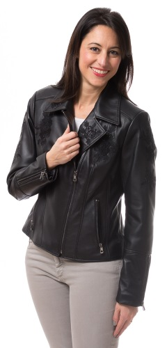 LF-005 schwarze Damen Lederjacke von TRENDZONE