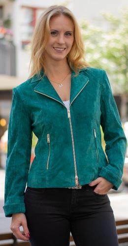 Saxton grüne Bikerjacke aus Velourleder von RINO PELLE