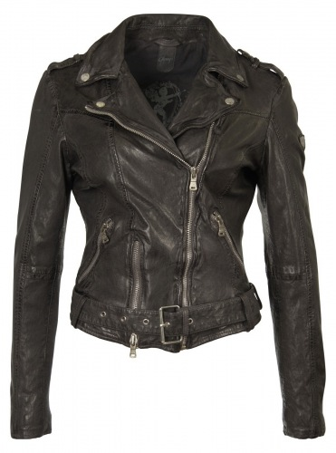Wild schwarze Damen Lederjacke von Gipsy
