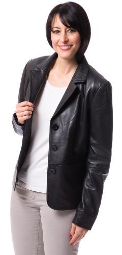 Kerry schwarz Leder Blazer für Damen von TRENDZONE