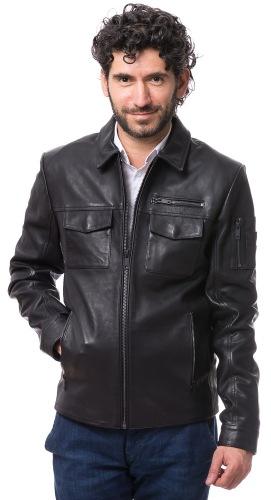 Bering schwarze Lederjacke für Männer von TRENDZONE