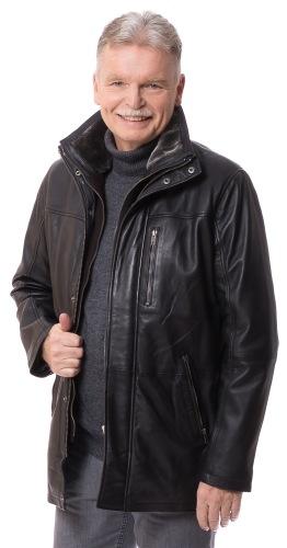 Aldo schwarze Leder Jacke für Herren von TRENDZONE