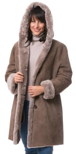 Daniela taupe Lammfell Jacke für Damen von TRENDZONE