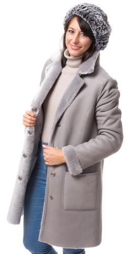 Elvia graue Lammfelljacke für Damen von TRENDZONE