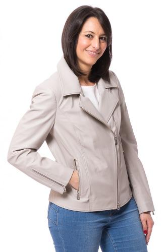 Tina graue Damen Lederjacke von TRENDZONE