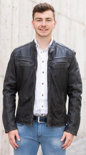 Burton schwarze Lederjacke für Männer von PUNCHBALL
