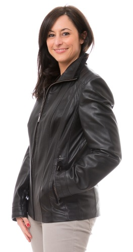 Tanja schwarze Damen Lederjacke von TRENDZONE