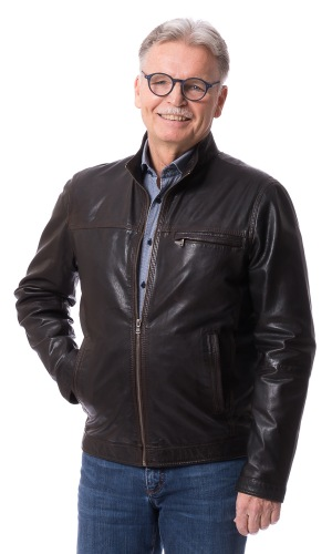 Aiden braun kurze Reißverschluss Lederjacke von MADDOX