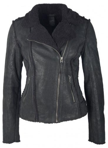 Adina schwarz Leder Jacke für Damen von GIPSY