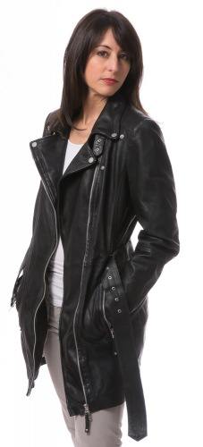 NYC Damen Long Lederjacke von FREAKY NATION
