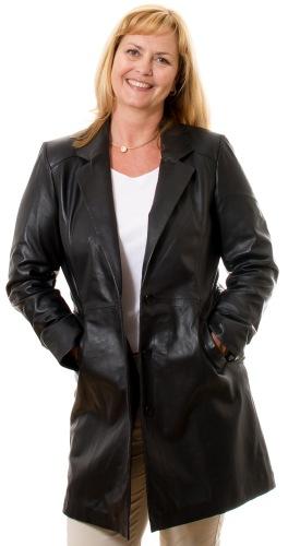 Mandy schwarzer Leder Gehrock von TRENDZONE