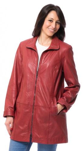 Lucetta lange Lammleder Jacke in rot von TRENDZONE