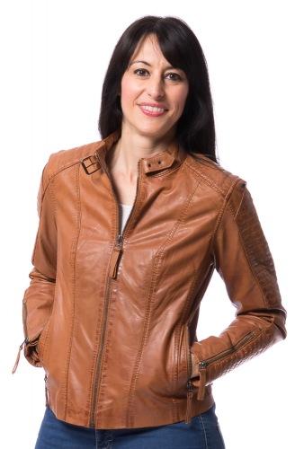 Bea cognac kurze Reißverschluss Jacke aus Lammnappa Leder