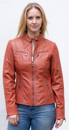 Stacy rust Kurz-Lederjacke für Frauen von TRENDZONE