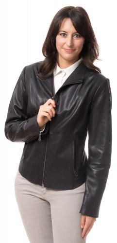 Delia schwarze Kurz Lederjacke für Frauen von TRENDZONE