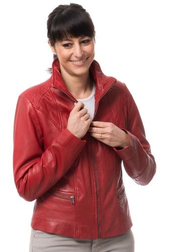 Artio rote Lederjacke für Damen von TRENDZONE