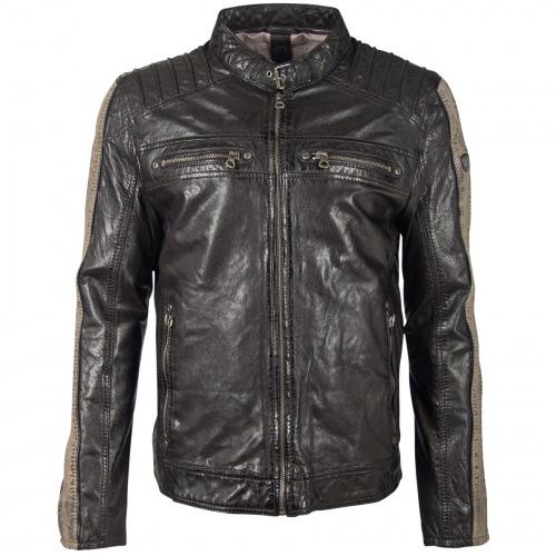 Brenton schwarz Lederjacke für Männer von GIPSY