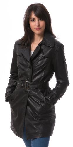 Whitney schwarzer Leder-Trenchcoat von TRENDZONE