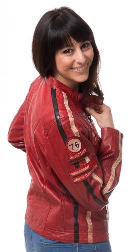 Mono Badge rote Damen Leder Jacke von TASI