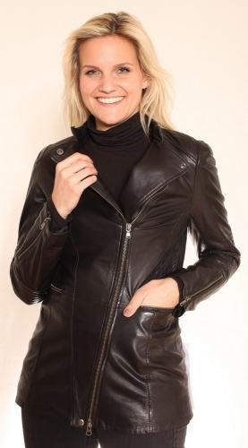 Trick schwarze Damen Lederjacke von Trendzone