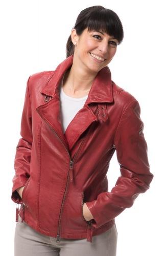 8465 rote Biker Lederjacke für Damen von CABRINI
