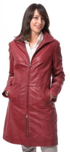 Petra roter Damen Leder Mantel