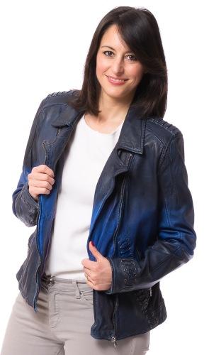 Lya Biker Jacke für Damen in Lamm Nappa blau von GILLIE