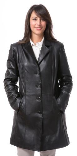 5339 schwarzer Ledermantel für Damen