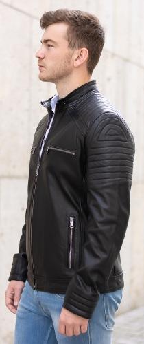 SR-2016 schwarze Lederjacke für Herren