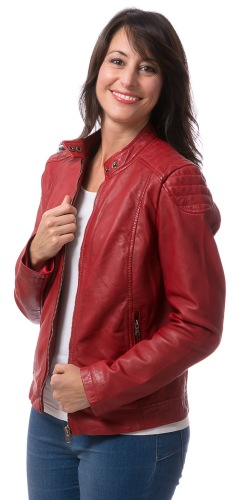 New York rote Damen Lederjacke