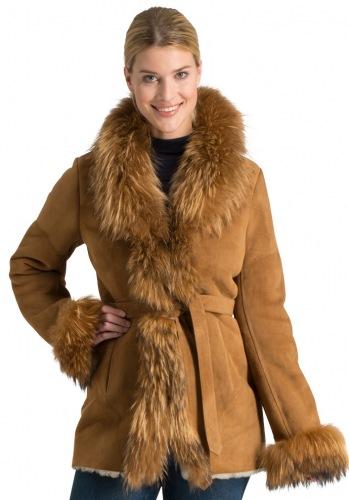 Gloria camel Damen Lammfelljacke mit Fellbesatz