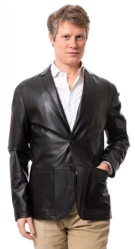 Teramo schwarzer Leder Blazer von TRENDZONE