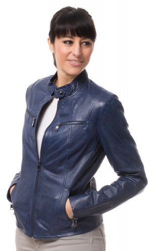 Stacy blaue Lederjacke für Damen von TRENDZONE