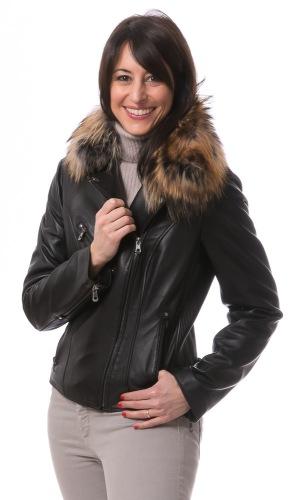 Clara schwarze Biker Lederjacke für Damen