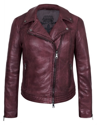 Tiffany burgundy Biker Jacke von MADDOX