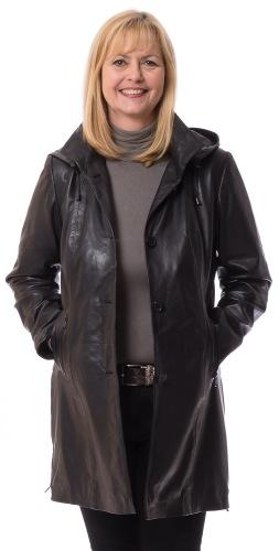 Sieglinde schwarzer Nappa Leder Gehrock für Damen von MADDOX