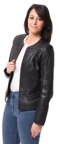 Nancy kurze Damen Lederjacke in schwarz von TRENZONE