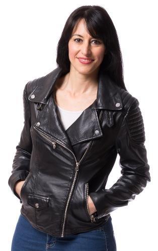 Lara schwarze Biker Jacke aus Lammnappa Leder von TRENDZONE