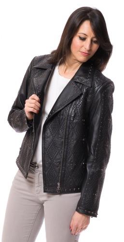 Eugenia schwarze Dsmen Leder Jacke von TRENDZONE
