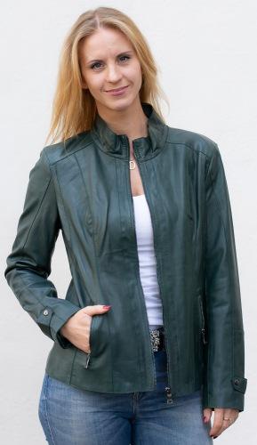 Sandy A grüne Lederjacke von TRENDZONDE für Damen