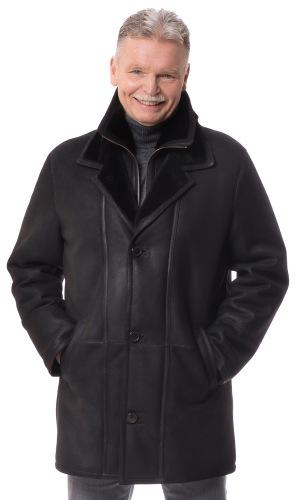 Henry schwarze Lammfell Jacke für Männer von TRENDZONE