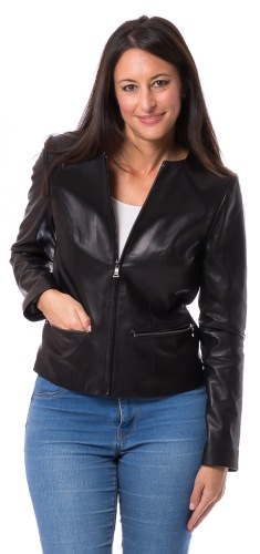 SR-5853 schwarze kragenlose Damen Lederjacke