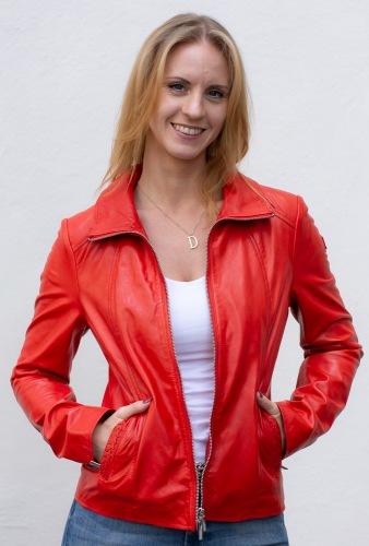 Dahlie rote Kurz-Lederjacke für Damen von MILESTONE