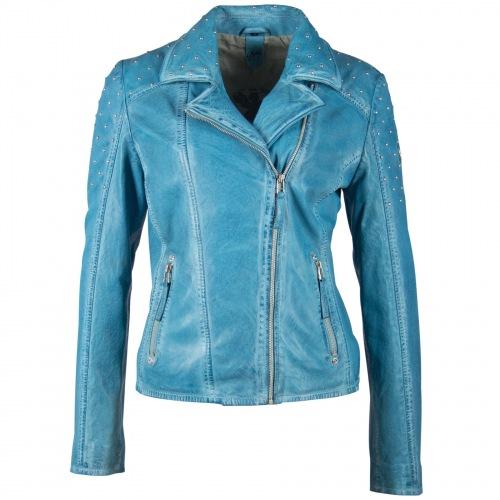 Vinny blaue Damen Lederjacke aus Lammanppa Leder von GIPSY