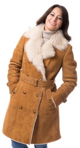 Trench camel Lammfell Jacke für Damen von TRENDZONE