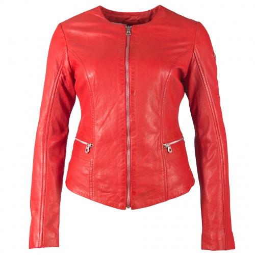 Giana rote, kragenlose Damen Lederjacke von GIPSY