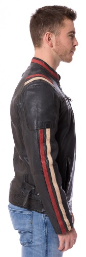 9066 schwarze Bikerjacke aus Lammnappa Leder von CABRINI
